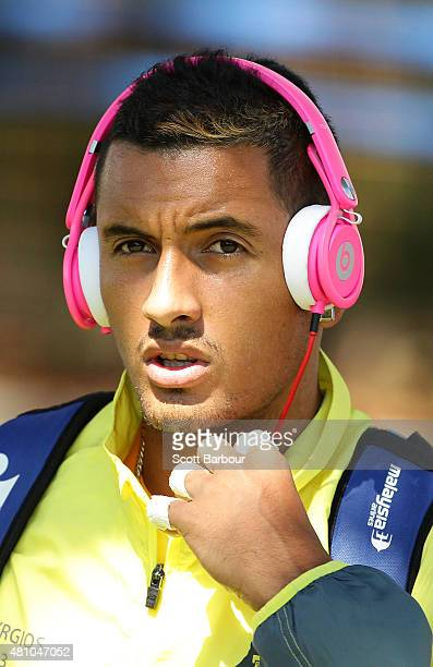 Nick Kyrgios of Australia looks on as he arrives to play against Aleksandr Nedovyesov of Kazakhstan during day one of the Davis Cup World Group...