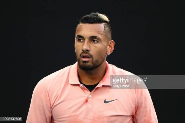 Nick Kyrgios of Australia looks on during his Men's Singles fourth round match against Rafael Nadal of Spain on day eight of the 2020 Australian Open...