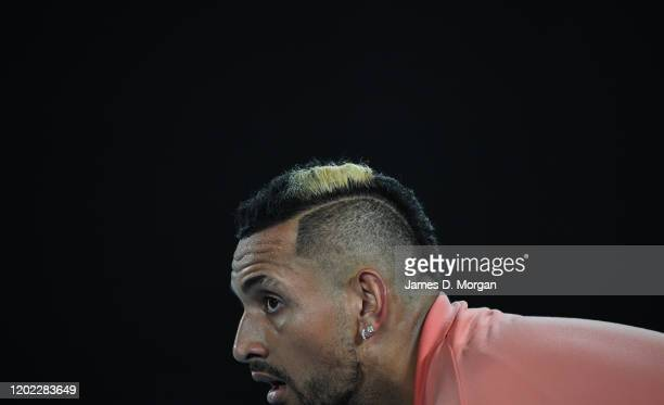 Nick Kyrgios of Australia looks on during in his fourth round match against Rafael Nadal of Spain on day eight of the 2020 Australian Open at...