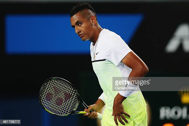 Nick Kyrgios of Australia looks on in his first round match against Federico Delbonis of Argentina during day one of the 2015 Australian Open at...