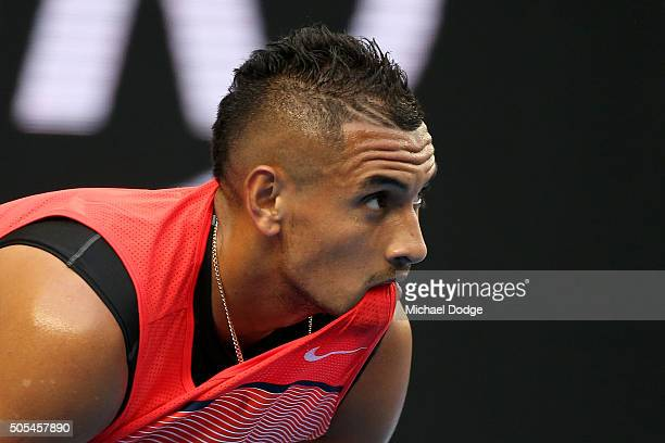 Nick Kyrgios of Australia looks on in his first round match against Pablo Carreno Busta of Spain during day one of the 2016 Australian Open at...