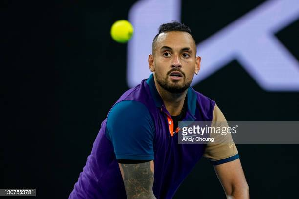 Nick Kyrgios of Australia looks on in his Men's Singles third round match against Dominic Thiem of Austria during day five of the 2021 Australian...