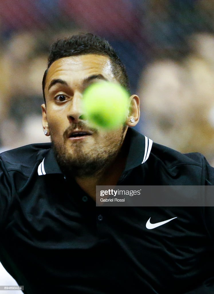 Nick Kyrgios of Australia looks the ball during an exhibition match between Juan Martin Del Potro and Nick Kyrgios at Luna Park on December 15, 2017 in Buenos Aires, Argentina.