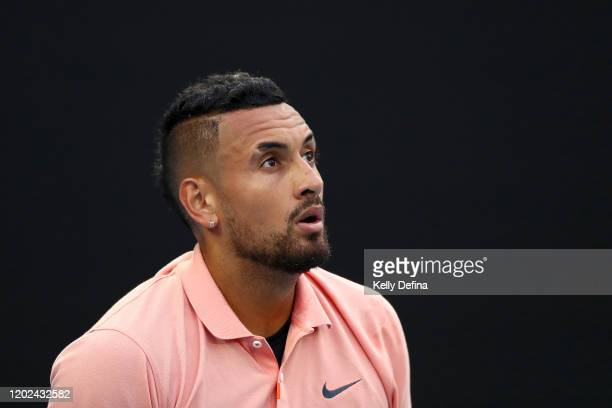 Nick Kyrgios of Australia looks to the sky during his Men's Singles fourth round match against Rafael Nadal of Spain on day eight of the 2020...