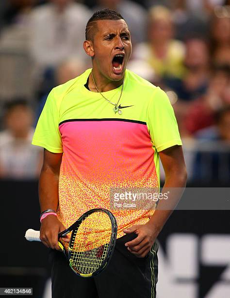 Nick Kyrgios of Australia on his way to defeating Andreas Seppi of Italy in their fourth round match during day seven of the 2015 Australian Open at...