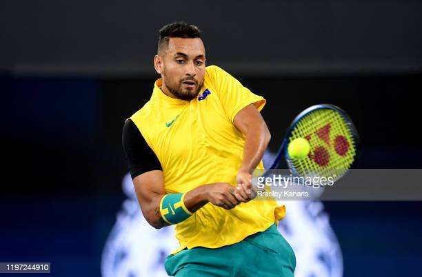 Nick Kyrgios of Australia plays a backhand against JanLennard Struff of Germany during day one of the 2020 ATP Cup Group Stage at Pat Rafter Arena on...
