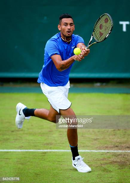 Nick Kyrgios of Australia plays a backhand during his match against Juan Monaco of Argentina during day three of The Boodles Tennis Event at Stoke...