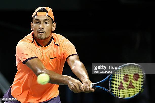 Nick Kyrgios of Australia plays a backhand during the men's singles final match against David Goffin of Belgium on day seven of Rakuten Open 2016 at...