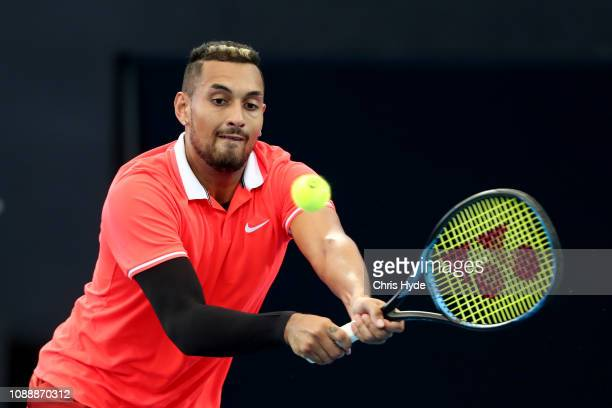 Nick Kyrgios of Australia plays a backhand in his match against Jeremy Chardy of France during day four of the 2019 Brisbane International at Pat...
