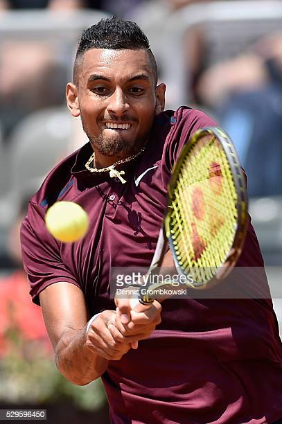 Nick Kyrgios of Australia plays a backhand in his match against Salvatore Caruso of Italy on Day Two of The Internazionali BNL d'Italia 2016 on May...