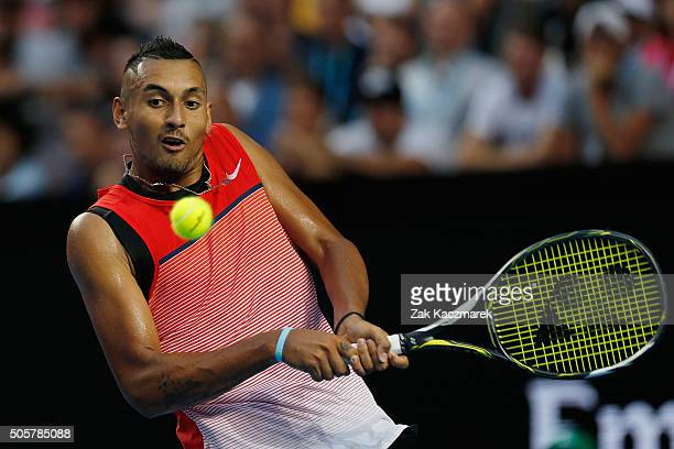 Nick Kyrgios of Australia plays a backhand in his second round match against Pabio Cuevas of Uruguay during day three of the 2016 Australian Open at...