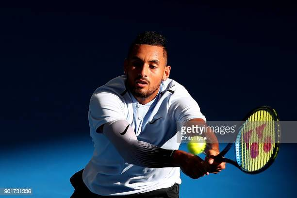 Nick Kyrgios of Australia plays a backhand in his semi final match against Grigor Dimitrov of Bulgaria during day seven of the 2018 Brisbane...