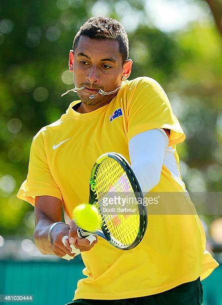 Nick Kyrgios of Australia plays a backhand in his singles match against Aleksandr Nedovyesov of Kazakhstan during day one of the Davis Cup World...