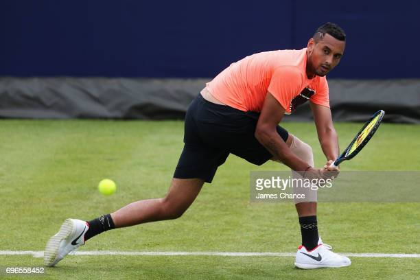 Nick Kyrgios of Australia plays a backhand shot during a practice session ahead of the Aegon Championships at Queens Club on June 16 2017 in London...