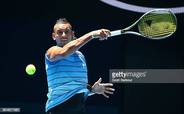 Nick Kyrgios of Australia plays a forehand during a practice session ahead of the 2016 Australian Open at Melbourne Park on January 12 2016 in...