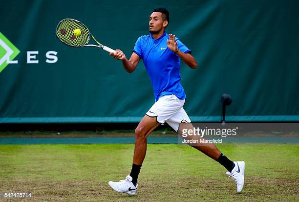Nick Kyrgios of Australia plays a forehand during his match against Juan Monaco of Argentina during day three of The Boodles Tennis Event at Stoke...