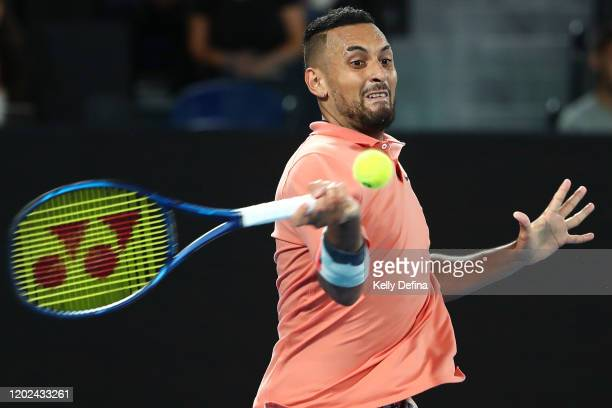 Nick Kyrgios of Australia plays a forehand during his Men's Singles fourth round match against Rafael Nadal of Spain on day eight of the 2020...