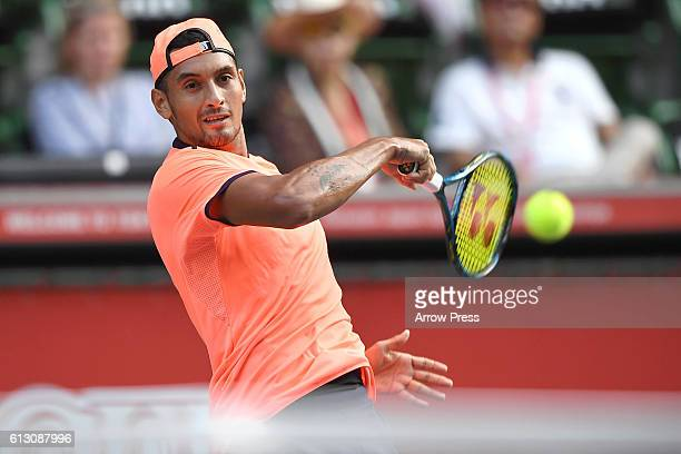 Nick Kyrgios of Australia plays a forehand during the men's singles quarterfinal match against Gilles Muller of Luxemburg on day five of Rakuten Open...