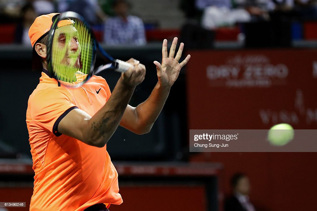 Nick Kyrgios of Australia plays a forehand during the men's singles final match against David Goffin of Belgium on day seven of Rakuten Open 2016 at Ariake Colosseum on October 9, 2016 in Tokyo, Japan.