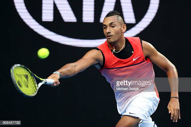 Nick Kyrgios of Australia plays a forehand in his first round match against Pablo Carreno Busta of Spain during day one of the 2016 Australian Open...