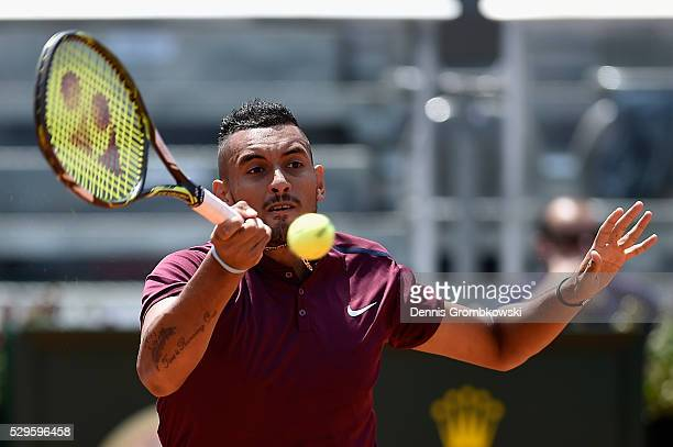 Nick Kyrgios of Australia plays a forehand in his match against Salvatore Caruso of Italy on Day Two of The Internazionali BNL d'Italia 2016 on May...