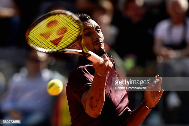 Nick Kyrgios of Australia plays a forehand in his match against Rafael Nadal of Spain on Day Five of The Internazionali BNL d'Italia on May 12 2016...