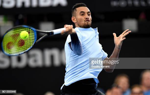 Nick Kyrgios of Australia plays a forehand in his match against Alexandr Dolgopolov of Ukraine during day six of the 2018 Brisbane International at...