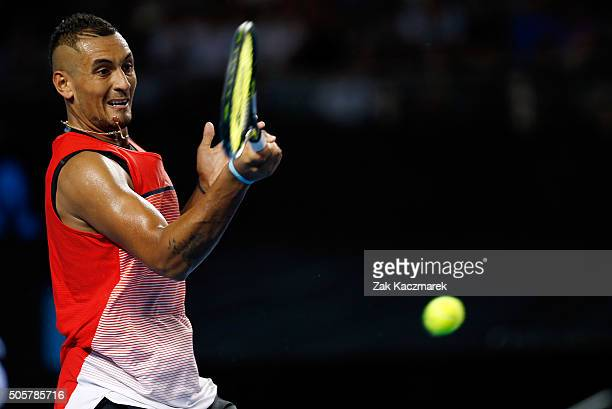 Nick Kyrgios of Australia plays a forehand in his second round match against Pabio Cuevas of Uruguay during day three of the 2016 Australian Open at...