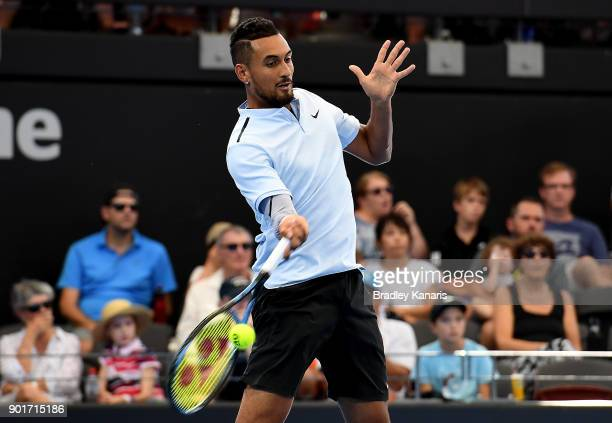 Nick Kyrgios of Australia plays a forehand in his semi final match against Grigor Dimitrov of Bulgaria during day seven of the 2018 Brisbane...