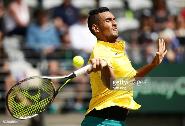 Nick Kyrgios of Australia plays a forehand in his singles match against Andrej Martin of Slovakia during the Davis Cup World Group playoff between...