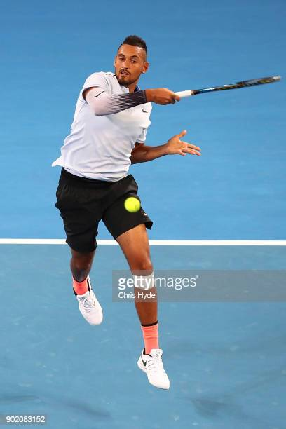 Nick Kyrgios of Australia plays a forehand in the Men's Final match against Ryan Harrison of the USA during day eight of the 2018 Brisbane...