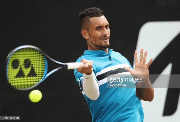 Nick Kyrgios of Australia plays a forehand to Roger Federer of Switzerland during day 6 of the Mercedes Cup at Tennisclub Weissenhof on June 16 2018...
