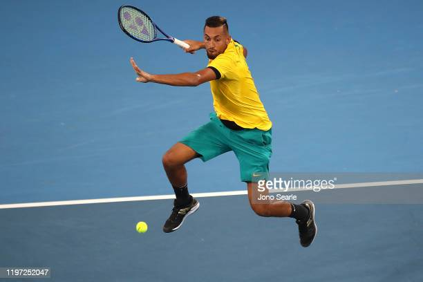 Nick Kyrgios of Australia plays a shot against JanLennard Struff of Germany during day one of the 2020 ATP Cup Group Stage at Pat Rafter Arena on...
