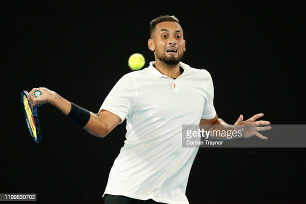 Nick Kyrgios of Australia plays a shot during during the Rally for Relief Bushfire Appeal event at Rod Laver Arena on January 15 2020 in Melbourne...