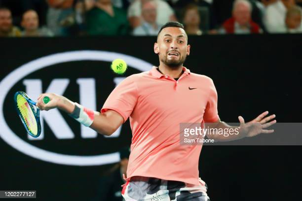 Nick Kyrgios of Australia plays in his fourth round match against Rafael Nadal of Spain on day nine of the 2020 Australian Open at Melbourne Park on...