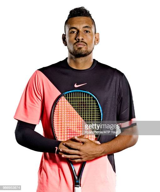 Nick Kyrgios of Australia poses for portraits during the Australian Open at Melbourne Park on January 14 2018 in Melbourne Australia