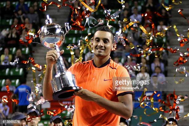 Nick Kyrgios of Australia poses with the trophy after winning the men's singles final match against David Goffin of Belgium on day seven of Rakuten...