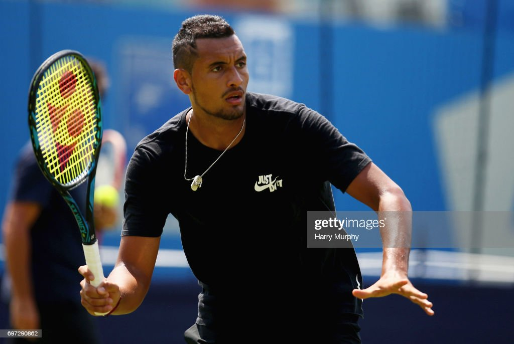 Nick Kyrgios of Australia prepares for a forehand shot during a practice session ahead of the Aegon Championships at Queens Club on June 18, 2017 in London, England.