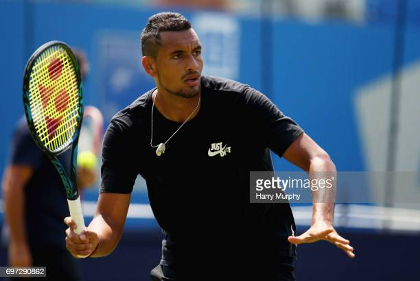 Nick Kyrgios of Australia prepares for a forehand shot during a practice session ahead of the Aegon Championships at Queens Club on June 18 2017 in...