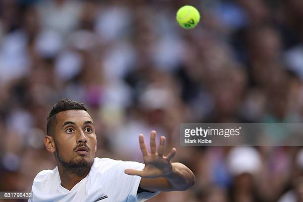 Nick Kyrgios of Australia prepares to play a forehand in his first round match against Gastao Elias or Portugal on day one of the 2017 Australian...