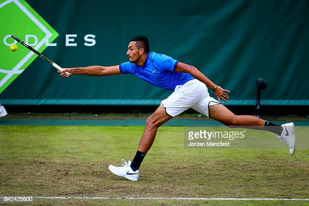 Nick Kyrgios of Australia reaches for a forehand during his match against Juan Monaco of Argentina during day three of The Boodles Tennis Event at...