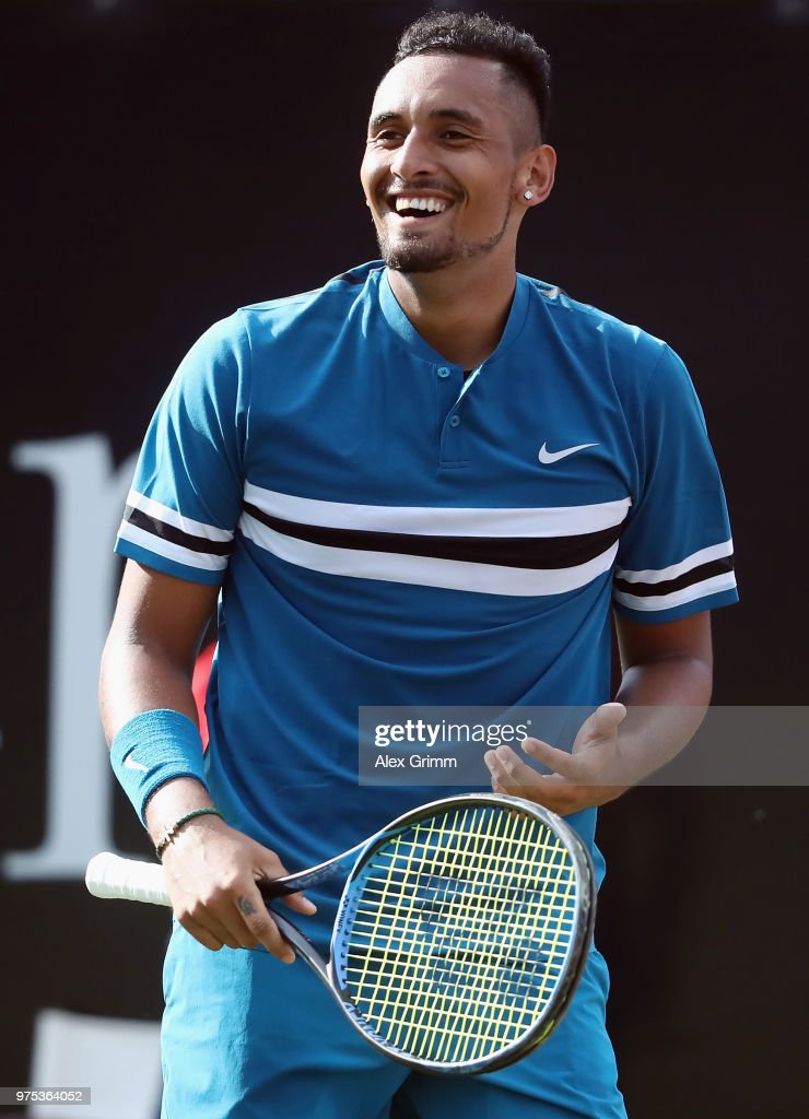 Nick Kyrgios of Australia reacts after during his match against Feliciano Lopez of Spain during day 5 of the Mercedes Cup at Tennisclub Weissenhof on June 15, 2018 in Stuttgart, Germany.