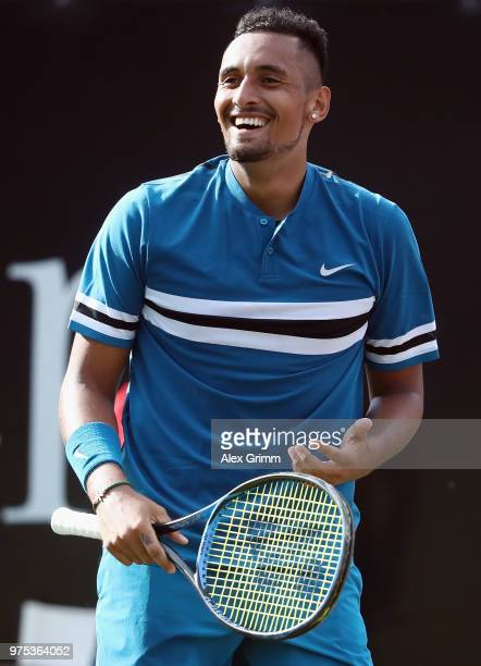 Nick Kyrgios of Australia reacts after during his match against Feliciano Lopez of Spain during day 5 of the Mercedes Cup at Tennisclub Weissenhof on...