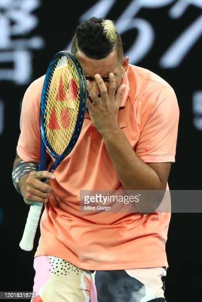 Nick Kyrgios of Australia reacts after losing a tie breaker point during his Men's Singles third round match against Karen Khachanov of Russia on day...