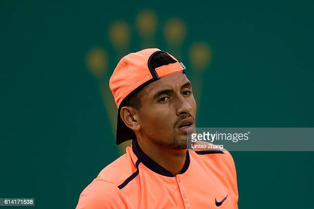 Nick Kyrgios of Australia reacts after losing the point against Mischa Zverev of Germany during the Men's singles second round match on day four of...