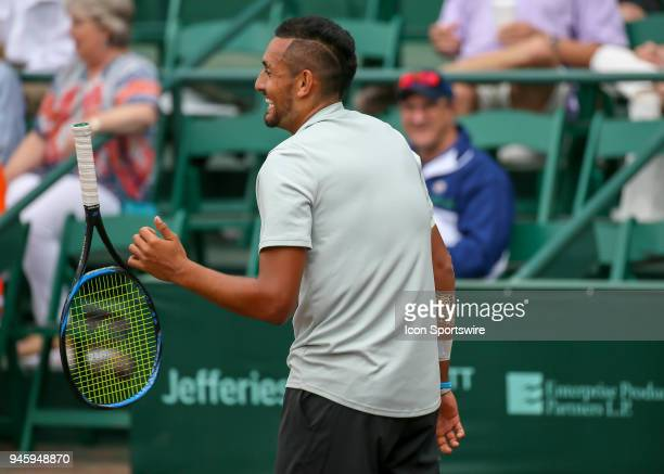 Nick Kyrgios of Australia reacts after winning a point during the Quarterfinal round of the Men's Clay Court Championship on April 13 2018 at River...