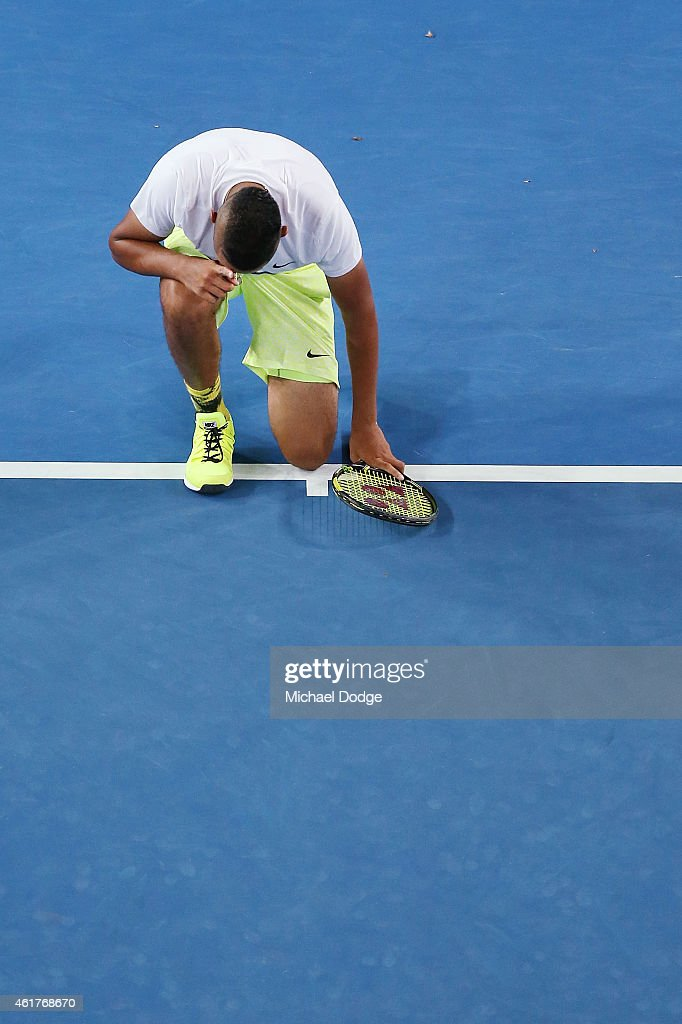 Nick Kyrgios of Australia reacts after winning in his first round match against Frederico Delbonis of Argentina during day one of the 2015 Australian Open at Melbourne Park on January 19, 2015 in Melbourne, Australia.