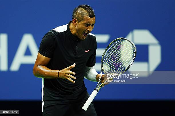 Nick Kyrgios of Australia reacts against Andy Murray of Great Britainm during their Men's Singles First Round match on Day Two of the 2015 US Open at...