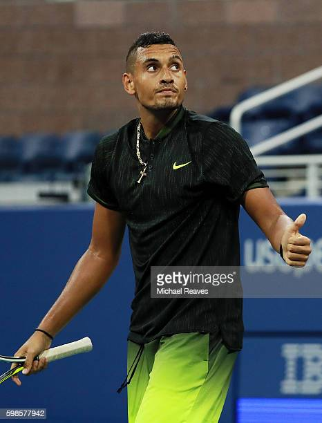Nick Kyrgios of Australia reacts against Horacio Zeballos of Argentina during his second round Men's Singles match on Day Four of the 2016 US Open at...