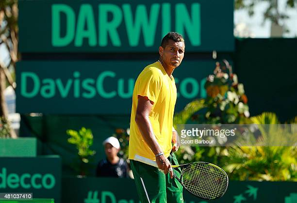 Nick Kyrgios of Australia reacts as he loses a game against Aleksandr Nedovyesov of Kazakhstan during day one of the Davis Cup World Group...